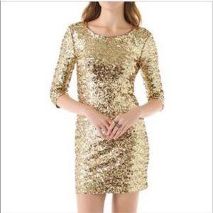 BB DAKOTA gold sequin mini body con dress m